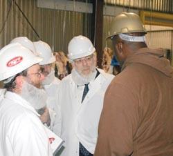 Rabbi Pesach Lerner (center) led the delegation that visited the Rubashkin Agriprocessors plant in Postville, Iowa, last week.