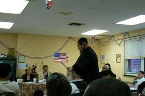 Simon Weisser, addresses the Community Board