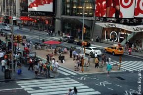 Photo Credit: NY Post - WALK THIS WAY: A pedestrian island at Broadway and 42nd Street.