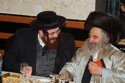 Rabbi Leibush on left seen with Kosevor Rabbi of Israel