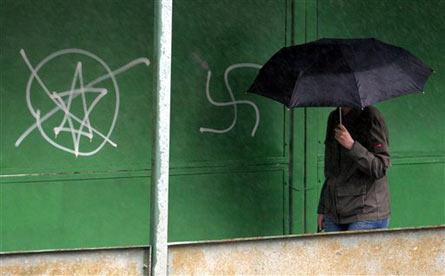 Anti-Semitic Graffiti in Kiev, Ukraine (file photo)