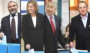 Lieberman, Livni, Netanyahu and Barak cast their votes