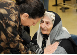 Heshmat Elyasian, nearly 102 years old, at Los Angeles International Airport, where she arrived with her son and his family. An Iranian Jewish client of HIAS, the international migration agency, Heshmat is the oldest refugee in HIAS records, which date back to 1909, and may be the oldest ever to arrive in the United States. Photo by HIAS