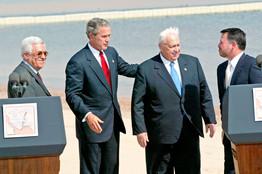 Palestinian Prime Minister Mahmoud Abbas, President George W. Bush, Israeli Prime Minister Ariel Sharon and Jordans King Abdullah, June 4, 2003.