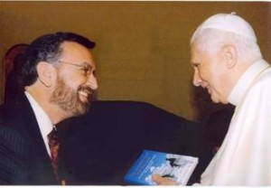 Rabbi David Rosen  presenting his book, The Christian the Phariseel, to Pope Benedict XVI