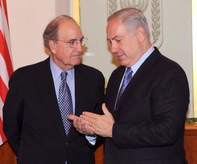Israeli Prime Minister Benjamin Netanyau with USA special Envoy George Mitchel, Jerusalem. 20 May 2010. Photo Moshe Milner/GPO/Flash90.
