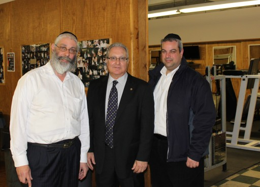 Assemblyman Cymbrowitz with Our Place's (L-R) Chaim Glancz and Yossie Yurowitz during a recent visit to the organization's Avenue M center.