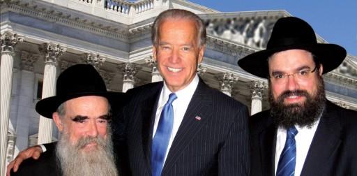 Vice President Joe Biden(C) with Rabbi LeviShemtov (R) and his father,Rabbi Abraham Shemtov.