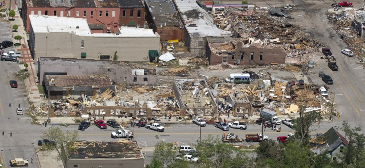 This is an aerial view of damage to downtown Cullman, Ala., Thursday, April 28, 2011. Dozens of tornadoes ripped through the South, flattening homes and businesses and killing at least 248 people in six states in the deadliest outbreak in nearly 40 years. (AP Photo/Dave Martin)