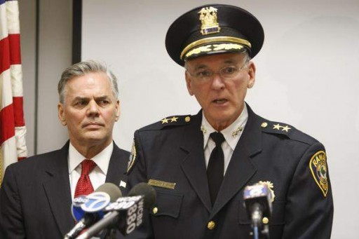 Ramapo Police Chief Peter Brower at a news conference with Ramapo Supervisor Christopher St. Lawrence. / Ricky Flores/The Journal News