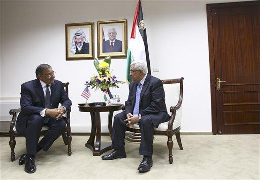 Defense Secretary Leon Panetta meets with Palestinian President Mahmoud Abbas, in Ramallah, the West Bank, Monday, Oct. 3, 2011.  (AP Photo/Win McNamee, Pool)