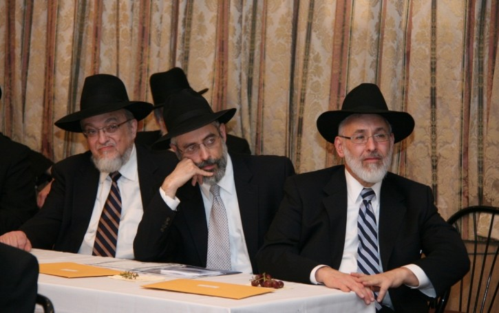 Atteding the event (L-R) Rabbi Shmuel Lefkowitz, Rabbi Chaim Dovid Zweibel, Rabbi Gedaliah Weinberger