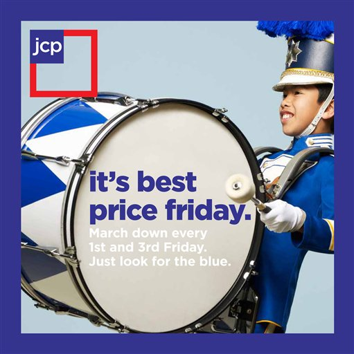 """This product image provided by J.C. Penney, shows an advertisement for """"it's best price friday"""" campaign. (AP Photo/J.C. Penney)"""