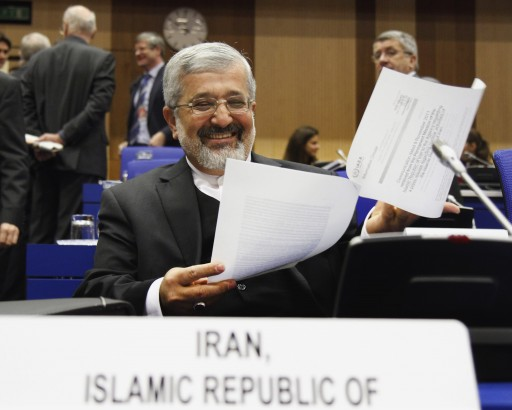 FILE - In this Nov. 18, 2011 file photo Iran's Ambassador to the International Atomic Energy Agency, IAEA, Ali Asghar Soltanieh waits for the start of the IAEA board of governors meeting at the International Center, in Vienna, Austria. (AP Photo/Ronald Zak, File)