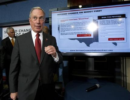 New York City Mayor Michael Bloomberg and leaders of national African American organizations leaves a news conference at the National Press Club in Washington, Wednesday, April 11, 2012, to announce a nationwide campaign to reform or repeal Florida-style