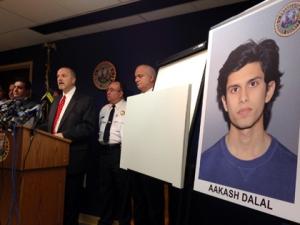 AP FILE - Prosecutors announce arrest of Aakas Dalal.