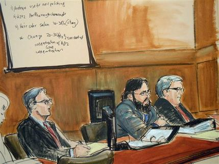 In this courtroom sketch, terror trial suspect Adis Medunjanin, second from right, accused in a foiled plot to attack New York City subways, is flanked by his two defense lawyers, Robert Gottlieb, left, and Mitchell Dinnerstein in federal court in Brooklyn, New York, Wednesday, April, 18, 2012. At Medunjanin's trial, his former high school classmate Najibullah Zazi testified Wednesday that al-Qaida trainers taught him a