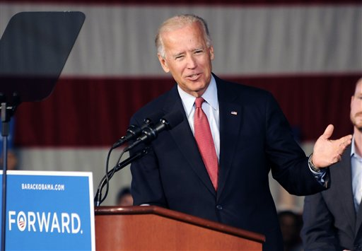 Vice President Joe Biden addresses a grassroots rally, Tuesday, Aug. 21, 2012, in Minneapolis. (AP Photo/Jim Mone)