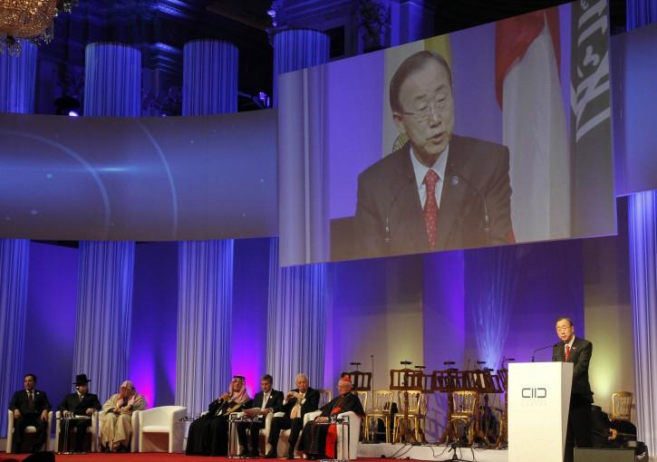 United Nations Secretary-General Ban Ki-moon, right, delivers a speech during the inauguration ceremony of the King Abdullah Bin Abdulaziz International Centre for Interreligious and Intercultural Dialogue, KAICIID, in Vienna, Austria, Monday, Nov. 26, 2012. (AP Photo/Ronald Zak)