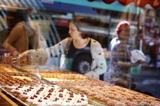 Doughnuts (sofganiot) on sale at the Mahane Yehuda market in Jerusalem, for the upcoming Jewish holiday of Hanukkah. November 28, 2012. Photo by Miriam Alster/FLASH90