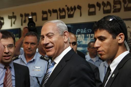 FILE - Israeli Prime Minister Benjamin Netanyahu smiles during a visit to the national police headquarters in Jerusalem, Israel, 22 November 2012. EPA