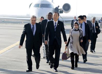 United Nations Secretary-General Ban Ki-moon (C) arrives at Baghdad International Airport, Baghdad, Iraq, 06 December 2012.  EPA
