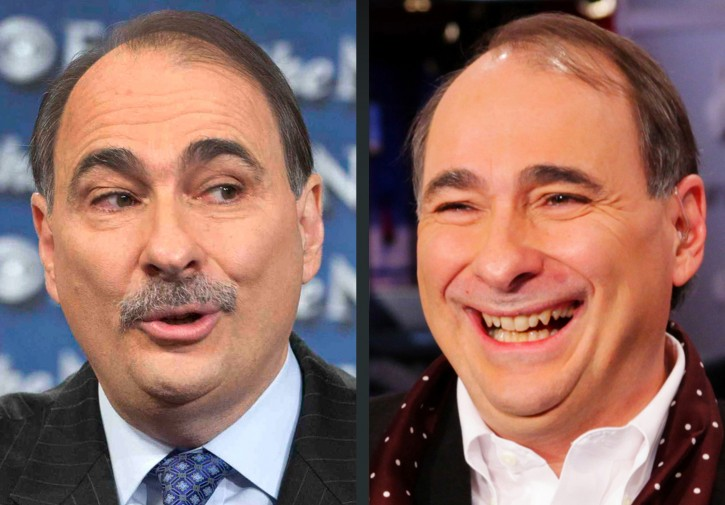 """This combination of Sunday, Oct. 7, 2012, left, and Friday, Dec. 7, 2012 photos provided by CBS News and MSNBC shows David Axelrod, adviser to the Obama campaign in Washington and New York. Axelrod had his trademark moustache shaved Friday on MSNBC after the hosts of """"Morning Joe"""" helped raise $1 million for his epilepsy charity. (AP Photo/CBS News, Chris Usher, MSNBC, Morning Joe, Louis Burgdorf)"""