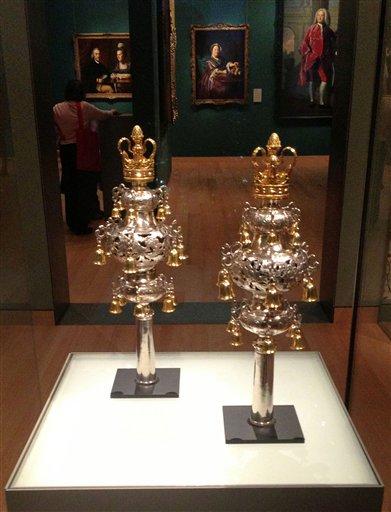 The Touro rimonim displayed in the Museum of Fine Arts in Boston