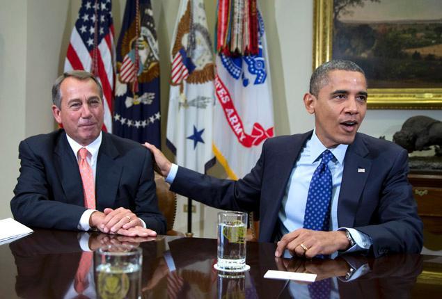 File photo of President Obama and John Boehner meet at White House in November.</p>  <p>CAROLYN KASTER/AP