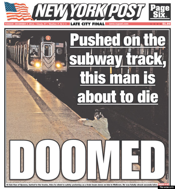 The cover of Tuesday's New York Post — which shows a man moments before he was fatally struck by a subway train.
