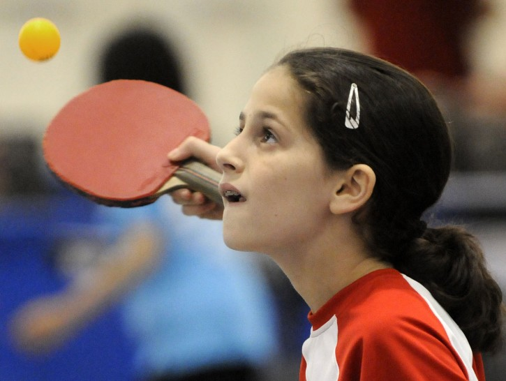 Estee Ackerman, 10, is a U.S. Open table tennis competitor.   Grand Rapids Press /Landov/VINNews.com