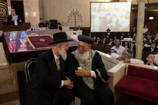 File photo of Rabbi Yona Metzger and Rabbi Shlomo Amar. Photo by Noam Moskowitz/Flash90