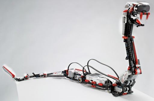 """This undated photo provided by Lego shows """"Reptar,"""" a robotic snake that is one of 17 possible creations available in the new, 0 Lego Mindstorms EV3 platform that will have the ability to talk to iPhones, iPads and iPod Touches through Bluetooth wireless connections. Lego is scheduled to announce the kit at the International Consumer Electronics Show, Monday, Jan. 7, 2013, in Las Vegas. (AP Photo/LEGO)"""