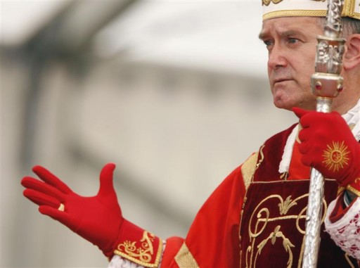 FILE - Bishop Bernard Fellay addresses the crowd during an ordination ceremony for priests in Econe, southwest Switzerland, June 29, 2009.  Reuters