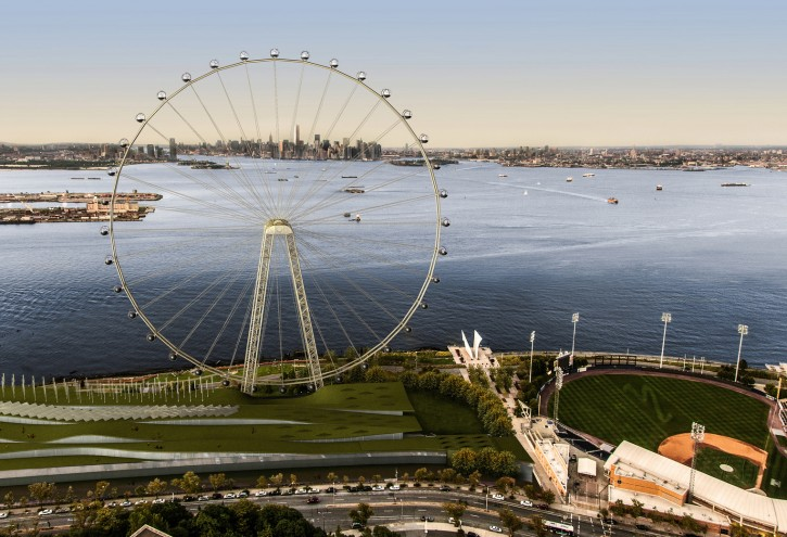 This image provided by the New York City Mayor's Office shows an artist's rendering of a proposed 625-foot Ferris wheel planned for the Staten Island waterfront in New York. (AP Photo/Office of the Mayor of New York, File)