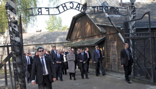 FILE - Prince Albert II of Monaco (C-L) and his wife Princess Charlene (C) visit the former Nazi-German concentration camp KL Auschwitz in Oswiecim, Poland, 19 October 2012.  EPA