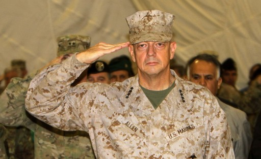 Afile picture dated 14 September 2012 of US Marine General John Allen, the top US and NATO commander in Afghanistan, attending a change of command ceremony of Italian soldiers in Herat province, Afghanistan. EPA/JALIL REZAYEE<br />