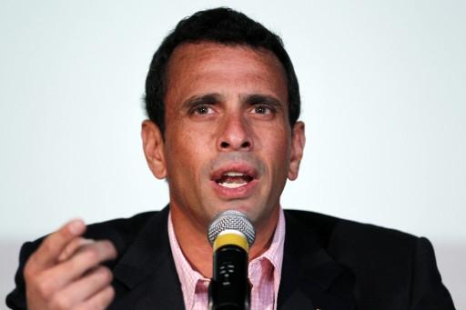 Venezuela's opposition leader Capriles, grandson of Holocaust survivors, attends a news conference in Caracas.