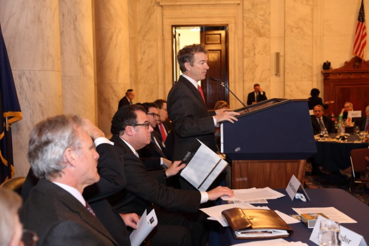 Rand Paul the junior United States Republican Senator from Kentucky In the Kennedy Caucus Room of the Russell Senate Office Building for the Iron Dome Tribute Luncheon on Feb. 27 2013. photo: Shmuel Lenchevsky.