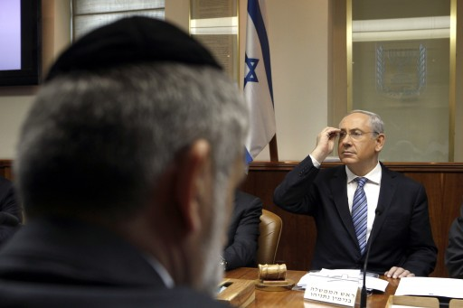 Israeli Prime Minister Benjamin Netanyahu gestures during the weekly cabinet meeting at his office in Jerusalem, Israel, 03 March 2013. EPA/GALI TIBBON / POOL