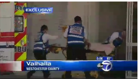 Shimon being taken by KJ Hatzulah to Maria Fareri Children's Hospital at Westchester Medical Center.