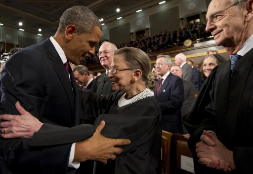 FILE - US President Barack Obama (L) greets US Supreme Court Justice Ruth Bader Ginsburg prior to his State of the Union address in front of a joint session of Congress on 24 January 2012, on Capitol Hill in Washington, DC, USA.  EPA/SAUL LOEB / POOL