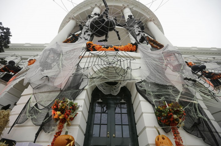 Attractive White House Decorated For Halloween Part - 9: Halloween Decorations Adorn The South Portico Of The White House In  Washington, Thursday, Oct