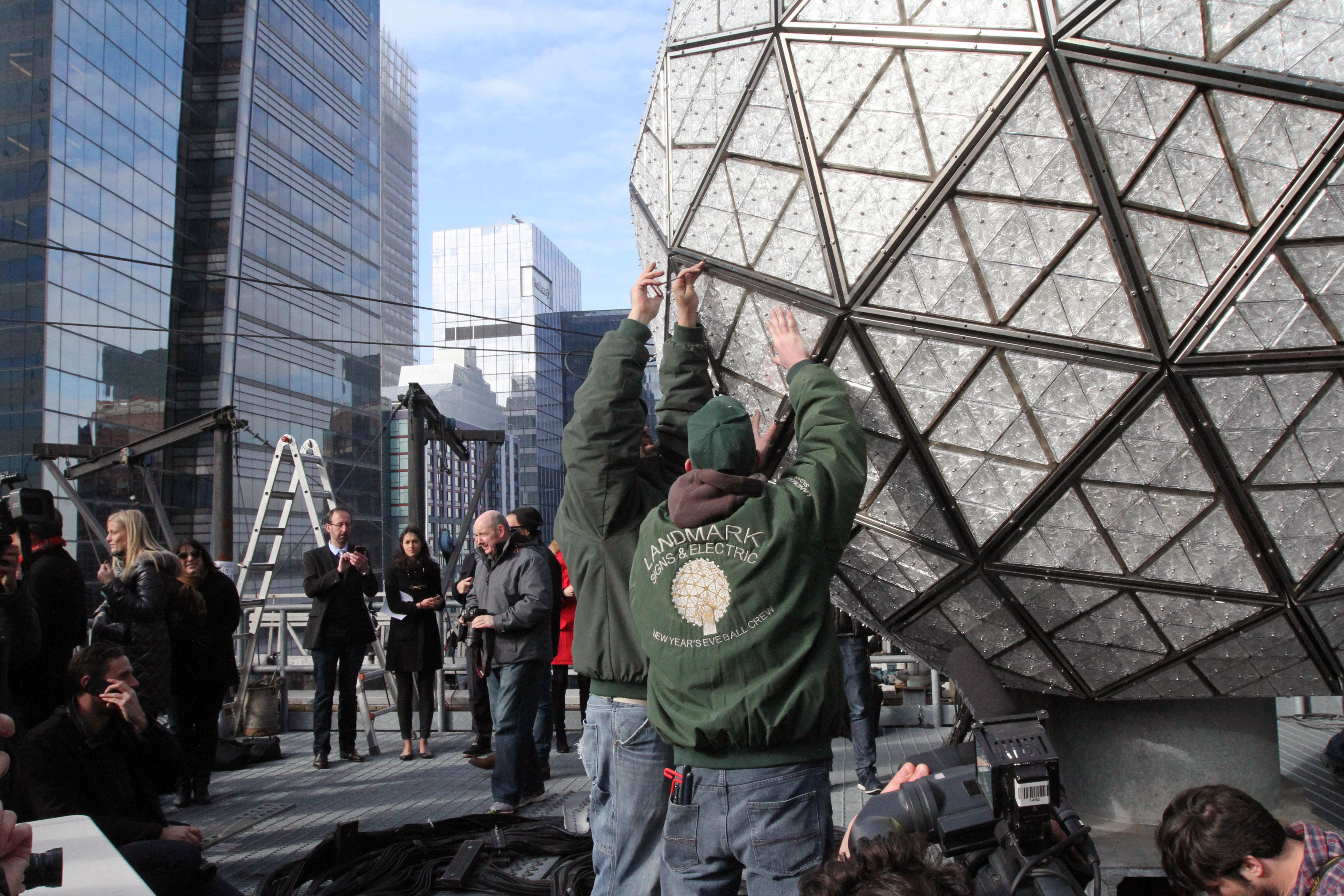 New York - Times Square's Crystal Ball Gets Gleaming New Skin