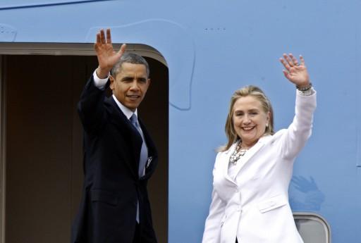 FILE - US President Barack Obama (L) and Secretary of the State Hillary Clinton (R) wave 19 November 2012.  EPA
