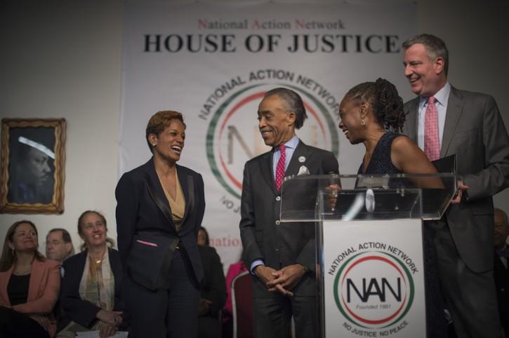 Rachel Noerdlinger, Mayor de Blasio, Chirlane McCray and Al Sharpton at the announcement Monday. (NYC mayors office)