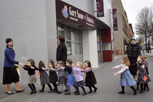 FILE - Young Ultra Orthodox Jewish school girls in, Brooklyn, New York City. March 21, 2012. Photo by Serge Attal/FLASH90