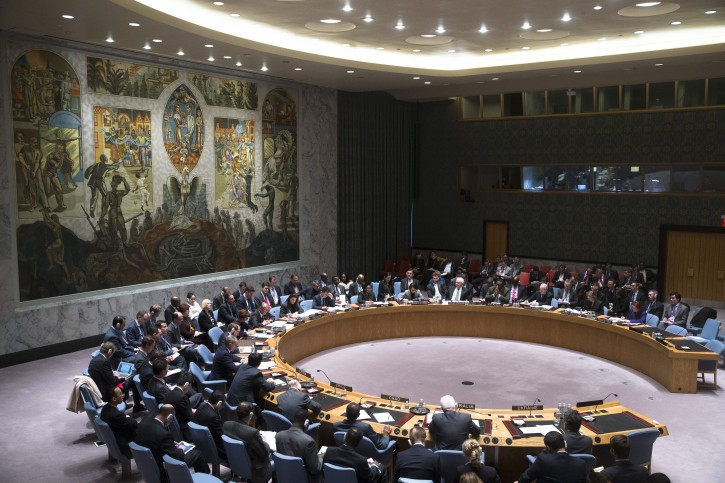 The U.N. Security Council convenes to discuss the developing crisis in Ukraine, Saturday, March 1, 2014, in the United Nations headquarters. Russian troops took over Crimea as the parliament in Moscow gave President Vladimir Putin a green light Saturday to use the military to protect Russian interests in Ukraine. (AP Photo/John Minchillo)