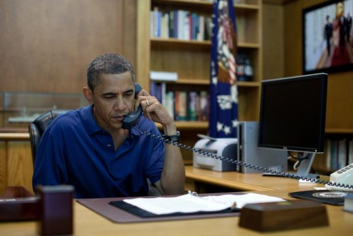 FILE - U.S. President Barack Obama holds a conference call from Camp David, Maryland. (WHITE HOUSE)