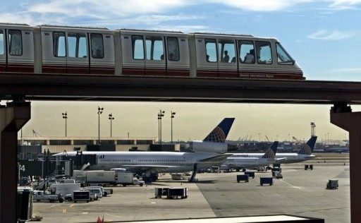 File photo of Travelers riding on the AirTrain at Newark Liberty International Airport REUTERS